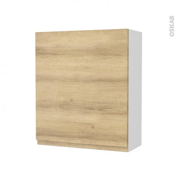 Armoire de salle de bains - Rangement haut - IPOMA Chêne Naturel - 1 porte - Côtés blancs - L60 x H70 x P27 cm