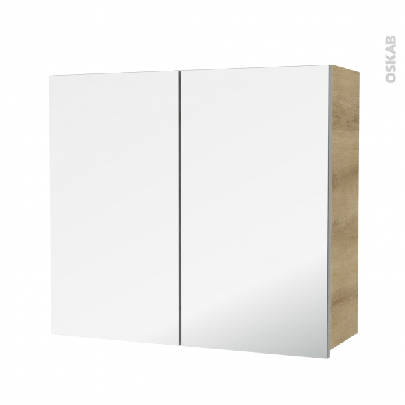 Armoire de salle de bains - Rangement haut - IPOMA Chêne Naturel - 2 portes miroir - Côtés décors - L80 x H70 x P27 cm