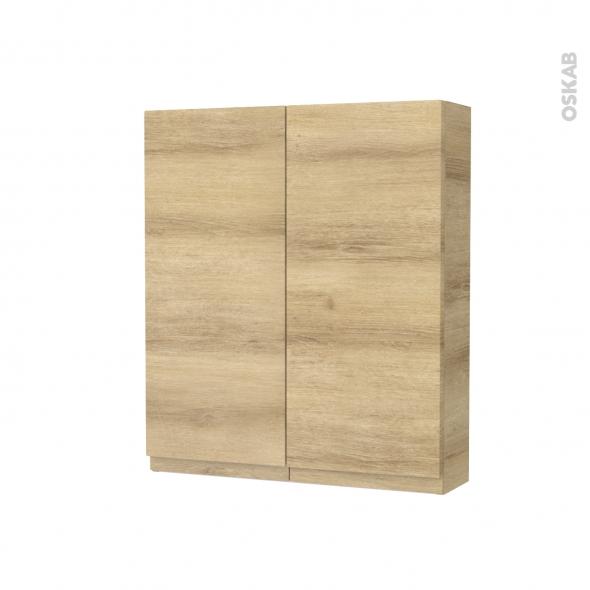Armoire de toilette - Rangement haut - IPOMA Chêne Naturel - 2 portes - Côtés décors - L60 x H70 x P17 cm