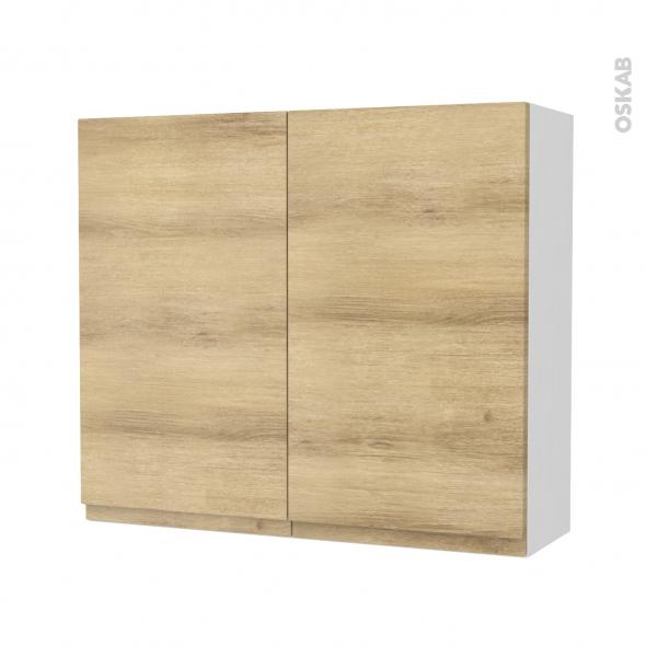 Armoire de salle de bains - Rangement haut - IPOMA Chêne Naturel - 2 portes - Côtés blancs - L80 x H70 x P27 cm