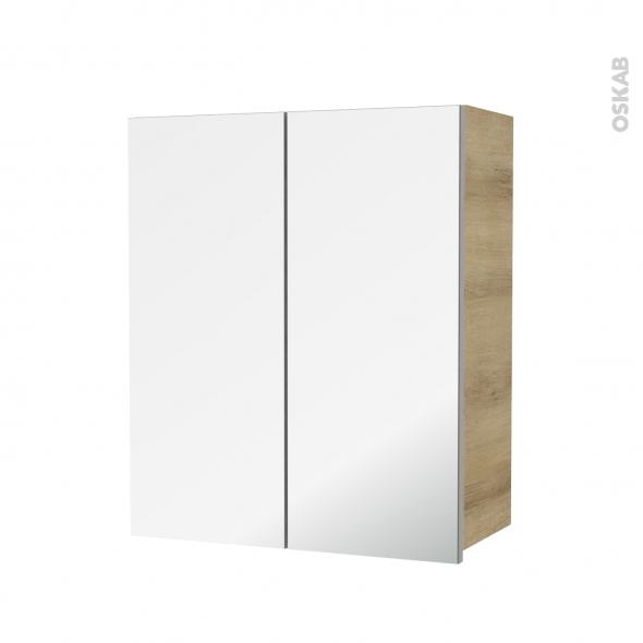 Armoire de salle de bains - Rangement haut - IPOMA Chêne Naturel - 2 portes miroir - Côtés décors - L60 x H70  xP27 cm