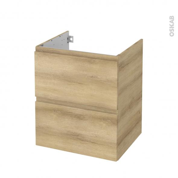 Meuble de salle de bains - Sous vasque - IPOMA Chêne Naturel - 2 tiroirs - Côtés décors - L60 x H70 x P50 cm