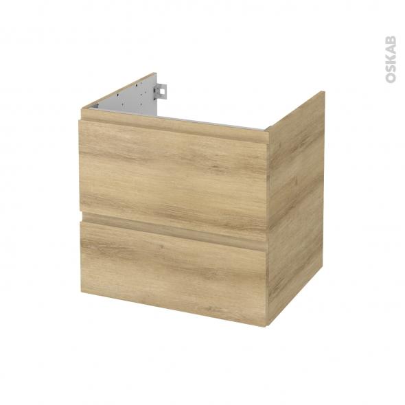 Meuble de salle de bains - Sous vasque - IPOMA Chêne Naturel - 2 tiroirs - Côtés décors - L60 x H57 x P50 cm
