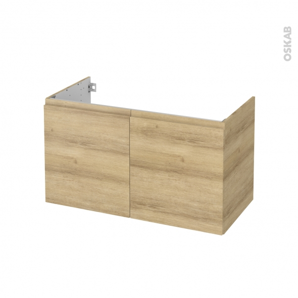 Meuble de salle de bains - Sous vasque - IPOMA Chêne Naturel - 2 portes - Côtés décors - L100 x H57 x P50 cm