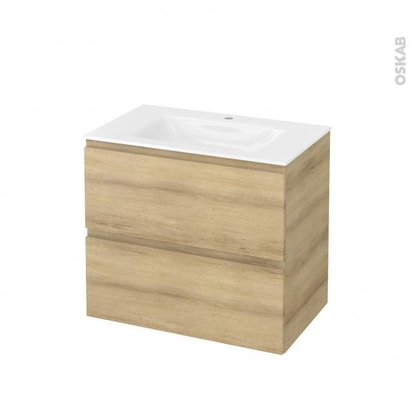 Meuble de salle de bains - Plan vasque VALA - IPOMA Chêne Naturel - 2 tiroirs - Côtés décors - L80,5 x H71,2 x P50,5 cm