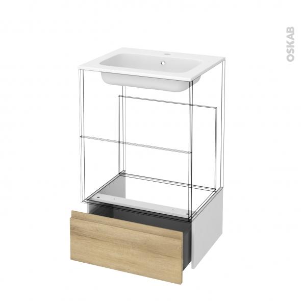 Tiroir sous meuble - Socle n°51 - IPOMA Chêne Naturel - pour meuble salle de bains - L60 x H26 x P45 cm