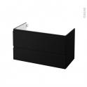 Meuble de salle de bains - Sous vasque - IPOMA Noir mat - 2 tiroirs - Côtés décors - L100 x H57 x P50 cm