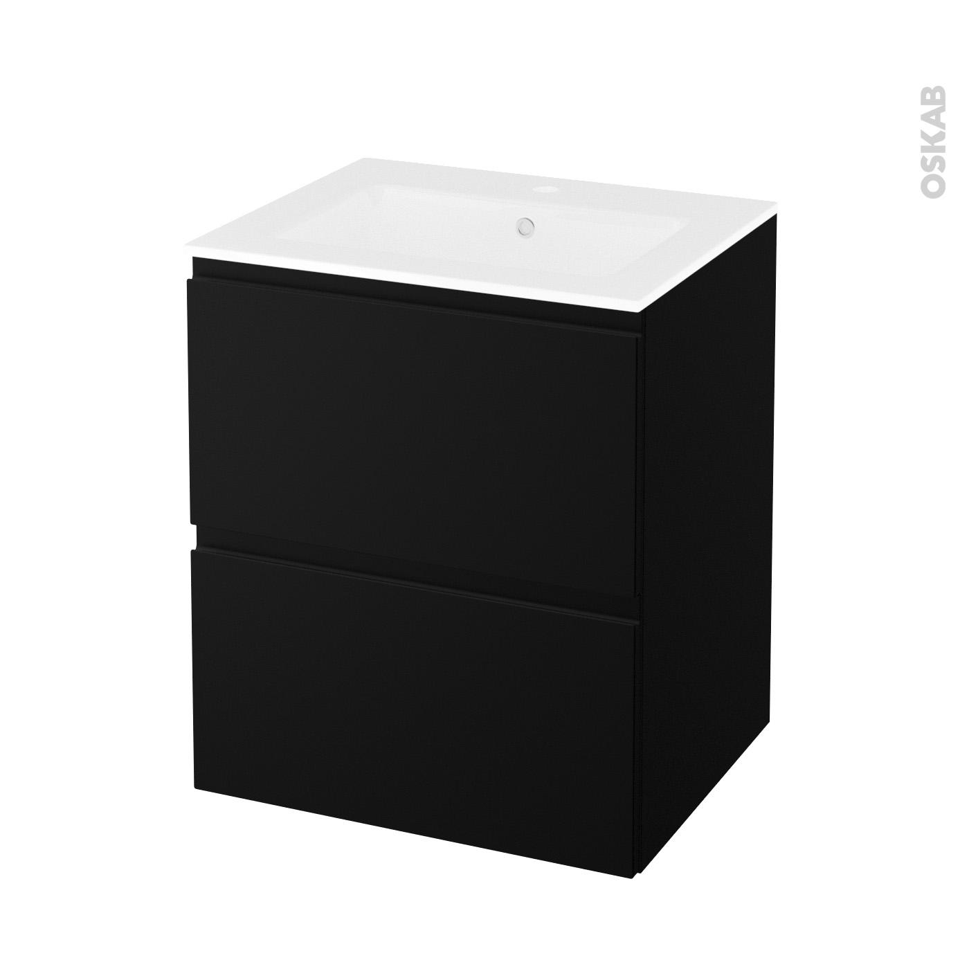 Panneau Melamine Noir Mat meuble de salle de bains plan vasque naja ipoma noir mat, 2 tiroirs, côtés  décors, l60.5 x h71.5 x p50.5 cm