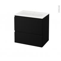 Meuble de salle de bains - Plan vasque REZO - IPOMA Noir mat - 2 tiroirs - Côtés décors - L60,5 x H58,5 x P40,5 cm