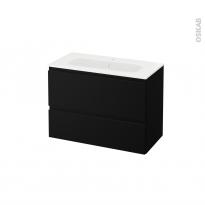 Meuble de salle de bains - Plan vasque REZO - IPOMA Noir mat - 2 tiroirs - Côtés décors - L80,5 x H58,5 x P40,5 cm