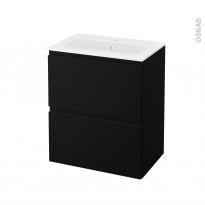 Meuble de salle de bains - Plan vasque REZO - IPOMA Noir mat - 2 tiroirs - Côtés décors - L60,5 x H71,5 x P40,5 cm