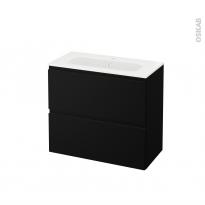 Meuble de salle de bains - Plan vasque REZO - IPOMA Noir mat - 2 tiroirs - Côtés décors - L80,5 x H71,5 x P40,5 cm