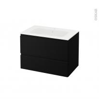 Meuble de salle de bains - Plan vasque REZO - IPOMA Noir mat - 2 tiroirs - Côtés décors - L80,5 x H58,5 x P50,5 cm