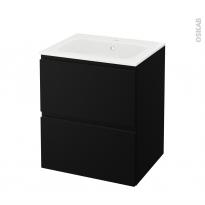 Meuble de salle de bains - Plan vasque REZO - IPOMA Noir mat - 2 tiroirs - Côtés décors - L60,5 x H71,5 x P50,5 cm