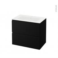 Meuble de salle de bains - Plan vasque REZO - IPOMA Noir mat - 2 tiroirs - Côtés décors - L80,5 x H71,5 x P50,5 cm