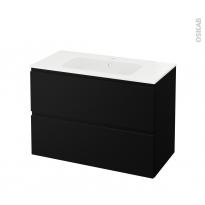 Meuble de salle de bains - Plan vasque REZO - IPOMA Noir mat - 2 tiroirs - Côtés décors - L100,5 x H71,5 x P50,5 cm