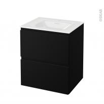 Meuble de salle de bains - Plan vasque VALA - IPOMA Noir mat - 2 tiroirs - Côtés décors - L60,5 x H71,2 x P50,5 cm