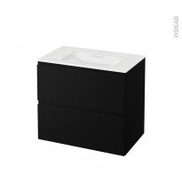 Meuble de salle de bains - Plan vasque VALA - IPOMA Noir mat - 2 tiroirs - Côtés décors - L80,5 x H71,2 x P50,5 cm