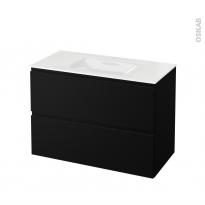 Meuble de salle de bains - Plan vasque VALA - IPOMA Noir mat - 2 tiroirs - Côtés décors - L100,5 x H71,2 x P50,5 cm