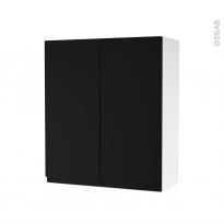 Armoire de salle de bains - Rangement haut - IPOMA Noir mat - 2 portes - Côtés blancs - L60 x H70 x P27 cm