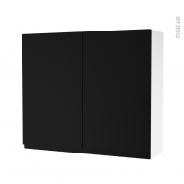 Armoire de salle de bains - Rangement haut - IPOMA Noir mat - 2 portes - Côtés blancs - L80 x H70 x P27 cm