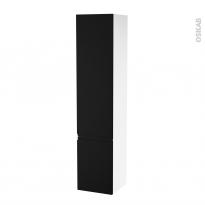 Colonne de salle de bains - 2 portes - IPOMA Noir mat - Côtés blancs - Version B - L40 x H182 x P40 cm