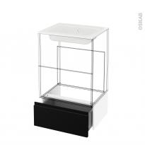 Tiroir sous meuble - Socle n°51 - IPOMA Noir mat - pour meuble salle de bains - L60 x H26 x P45 cm