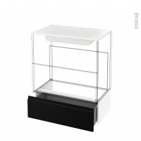 Tiroir sous meuble - Socle n°101 - IPOMA Noir mat - pour meuble salle de bains - L80 x H26 x P45 cm