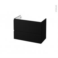 Meuble de salle de bains - Sous vasque - IPOMA Noir mat - 2 tiroirs - Côtés décors - L80 x H57 x P40 cm
