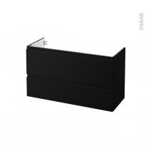 Meuble de salle de bains - Sous vasque - IPOMA Noir mat - 2 tiroirs - Côtés décors - L100 x H57 x P40 cm