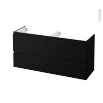 Meuble de salle de bains - Sous vasque double - IPOMA Noir mat - 4 tiroirs - Côtés décors - L120 x H57 x P40 cm