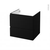 Meuble de salle de bains - Sous vasque - IPOMA Noir mat - 2 tiroirs - Côtés décors - L60 x H57 x P50 cm