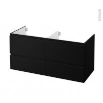 Meuble de salle de bains Sous vasque double IPOMA Noir mat, 4 tiroirs, Côtés décors, L120 x H57 x P50 cm