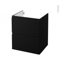 Meuble de salle de bains - Sous vasque - IPOMA Noir mat - 2 tiroirs - Côtés décors - L60 x H70 x P50 cm
