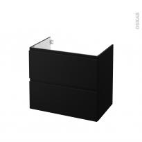 Meuble de salle de bains - Sous vasque - IPOMA Noir mat - 2 tiroirs - Côtés décors - L80 x H70 x P50 cm
