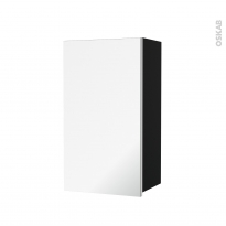 Armoire de salle de bains - Rangement haut - IPOMA Noir mat - 1 porte miroir - Côtés décors - L40 x H70 x P27 cm
