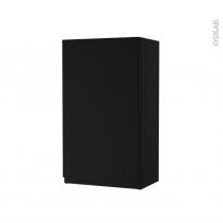 Armoire de salle de bains - Rangement haut - IPOMA Noir mat - 1 porte - Côtés décors - L40 x H70 x P27 cm