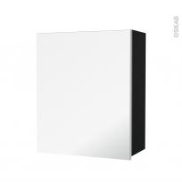 Armoire de salle de bains - Rangement haut - IPOMA Noir mat - 1 porte miroir - Côtés décors - L60 x H70 x P27 cm