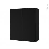 Armoire de salle de bains - Rangement haut - IPOMA Noir mat - 2 portes - Côtés décors - L60 x H70 x P27 cm