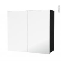 Armoire de salle de bains - Rangement haut - IPOMA Noir mat - 2 portes miroir - Côtés décors - L80 x H70 x P27 cm