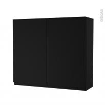 Armoire de salle de bains - Rangement haut - IPOMA Noir mat - 2 portes - Côtés décors - L80 x H70 x P27 cm