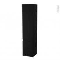 Colonne de salle de bains - 2 portes - IPOMA Noir mat - Côtés décors - Version B - L40 x H182 x P40 cm