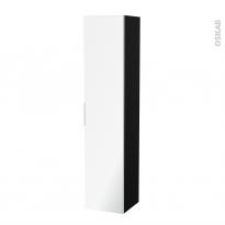 Colonne de salle de bains - 1 porte miroir - IPOMA Noir mat - Côtés décors - L40 x H182 x P40 cm
