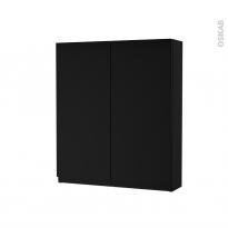 Armoire de toilette - Rangement haut - IPOMA Noir mat - 2 portes - Côtés décors - L60 x H70 x P17 cm