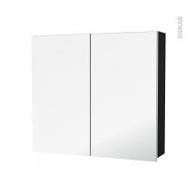 Armoire de toilette - Rangement haut - IPOMA Noir mat - 2 portes miroir - Côtés décors - L80 x H70 x P17 cm