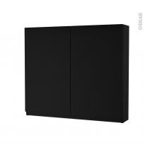 Armoire de toilette - Rangement haut - IPOMA Noir mat - 2 portes - Côtés décors - L80 x H70 x P17 cm