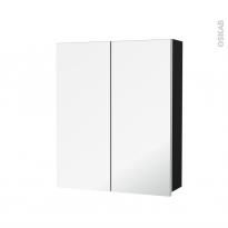 Armoire de toilette - Rangement haut - IPOMA Noir mat - 2 portes miroir - Côtés décors - L60 x H70 x P17 cm