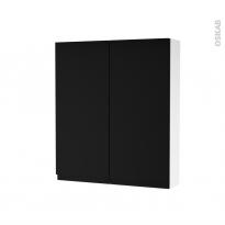 Armoire de toilette - Rangement haut - IPOMA Noir mat - 2 portes - Côtés blancs - L60 x H70 x P17 cm