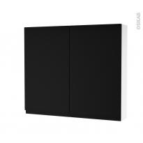 Armoire de toilette - Rangement haut - IPOMA Noir mat - 2 portes - Côtés blancs - L80 x H70 x P17 cm