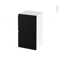 Meuble de salle de bains - Rangement bas - IPOMA Noir mat - 2 tiroirs 1 tiroir à l'anglaise - L40 x H70 x P37 cm